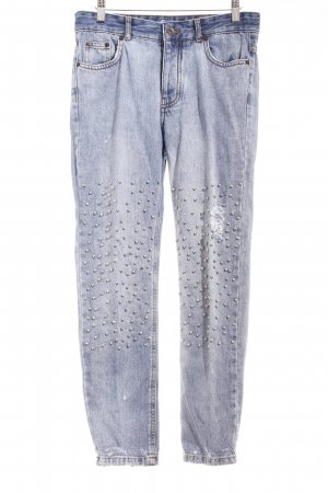 Pull & Bear High Waist Jeans stahlblau-silberfarben Casual-Look