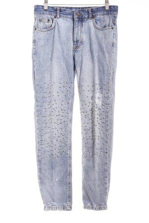 Pull & Bear Jeans a vita alta blu acciaio-argento stile casual