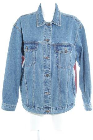 Pull & Bear Jeansjacke kornblumenblau Motivdruck Casual-Look