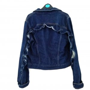 PULL&BEAR Jeansjacke mit Rüschen, Neuwertig, S blau Jacke