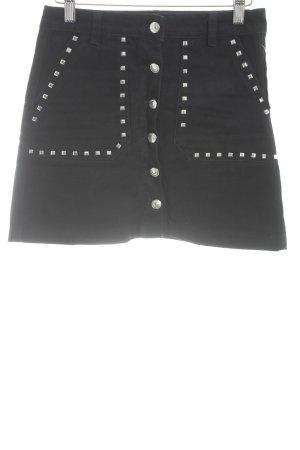 Pull & Bear Jeansrock schwarz-silberfarben Jeans-Optik