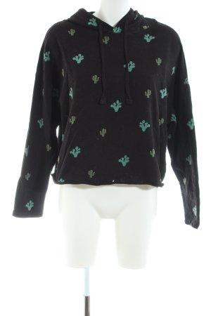 Pull & Bear Kapuzenpullover schwarz-grün Allover-Druck Casual-Look