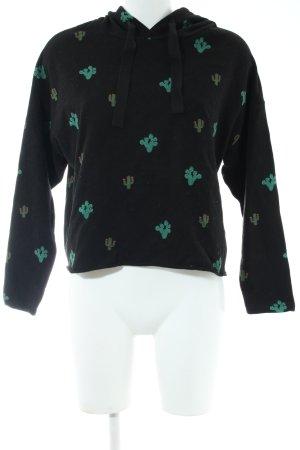 Pull & Bear Jersey con capucha negro-verde look casual