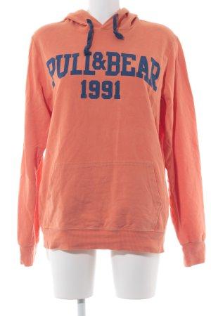 Pull & Bear Kapuzensweatshirt orange-blau Casual-Look