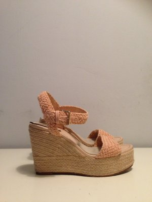 PULL&BEAR Keilabsatz Sandalette / Wedges / Bast Sandalette mit Plateu in Nude