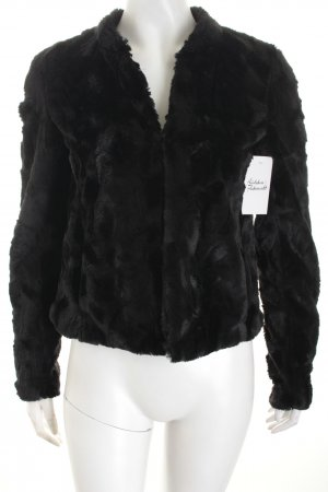 Pull & Bear Kunstfelljacke schwarz minimalistischer Stil