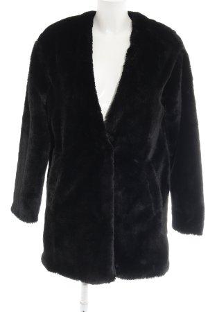 Pull & Bear Fake Fur Coat black casual look