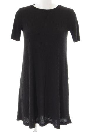 Pull & Bear Kurzarmkleid schwarz Streifenmuster Casual-Look