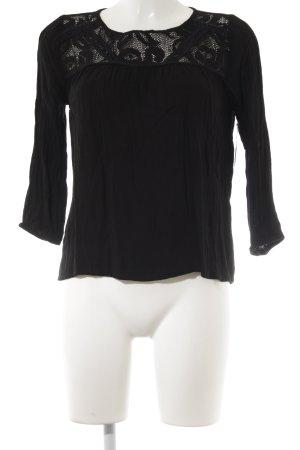 Pull & Bear Langarm-Bluse schwarz schlichter Stil