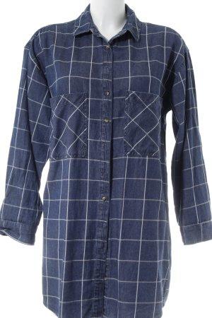 Pull & Bear Langarmhemd stahlblau-weiß Karomuster Street-Fashion-Look
