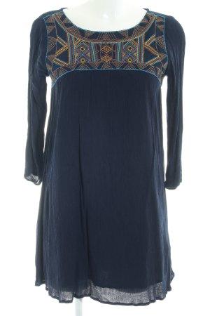Pull & Bear Langarmkleid dunkelblau Aztekenmuster Casual-Look