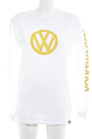 Pull & Bear Longsleeve weiß-gelb Motivdruck Casual-Look