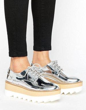 Pull&Bear - Metallic-Schuhe mit Plateausohle