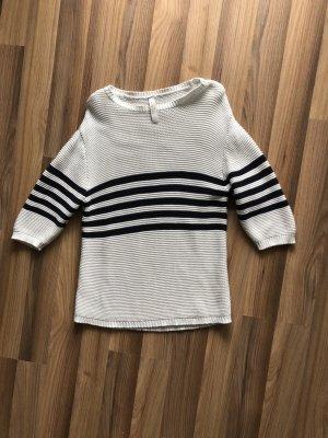 Pull & Bear Maglione lavorato a maglia bianco-blu scuro Cotone
