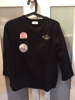 Pull&Bear Pullover 3/4 Ärmel schwarz patches M