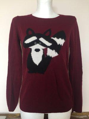 Pull & Bear Pullover mit Waschbärmotiv in Bordeaux Rot