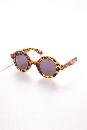 Pull & Bear runde Sonnenbrille braun-schwarzbraun Animalmuster Matt-Optik