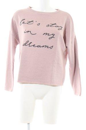 Pull & Bear Rundhalspullover pink-schwarz Schriftzug gedruckt Casual-Look