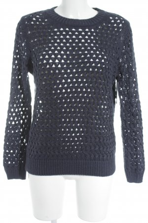 Pull & Bear Rundhalspullover dunkelblau Lochstrickmuster Street-Fashion-Look