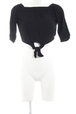 Pull & Bear Off the shoulder top zwart casual uitstraling