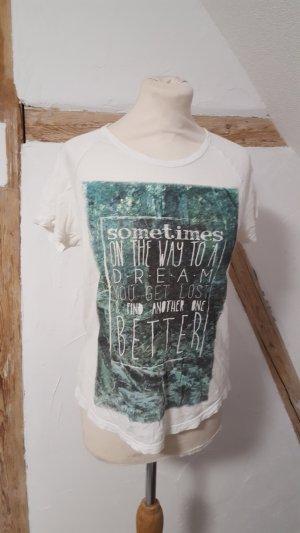 Pull & Bear Camiseta blanco-verde bosque Algodón