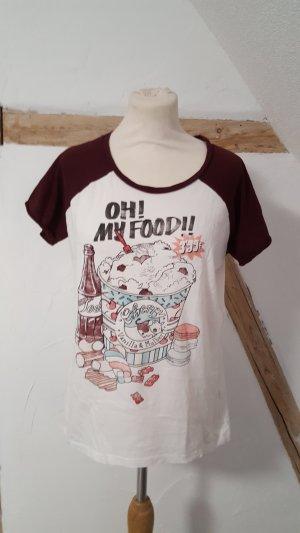Pull & Bear Shirt met print bordeaux-wit Katoen