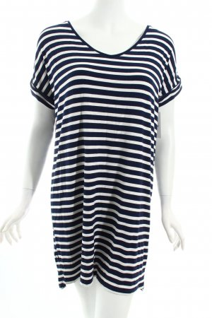 Pull & Bear Robe t-shirt bleu foncé-blanc rayures horizontales