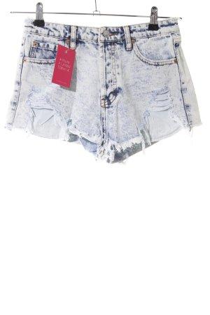 Pull & Bear Shorts weiß-blau meliert Casual-Look