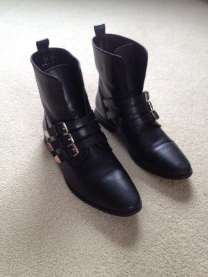 Pull&Bear Stiefel/Stiefeletten/Boots Leder Schnallen schwarz/gold