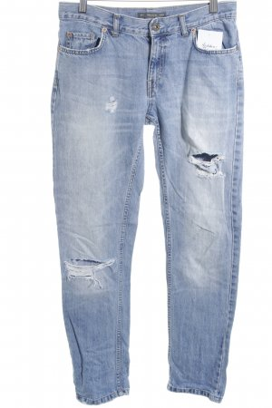 Pull & Bear Straight-Leg Jeans stahlblau Destroy-Optik