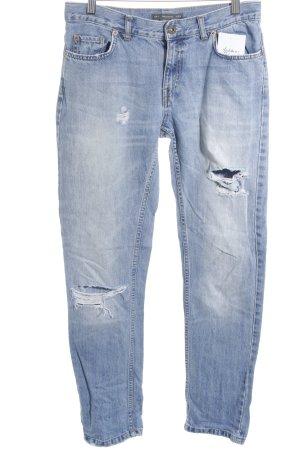 Pull & Bear Straight-Leg Jeans stahlblau Destroy-Optik