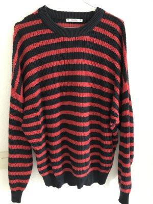 Pull & Bear Maglione lavorato a maglia blu scuro-rosso scuro