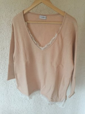 Pull & Bear Sweater Pullover Spitze Lace Nude Blogger