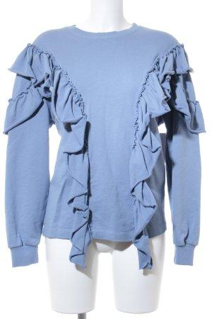 Pull & Bear Sweatshirt kornblumenblau Romantik-Look