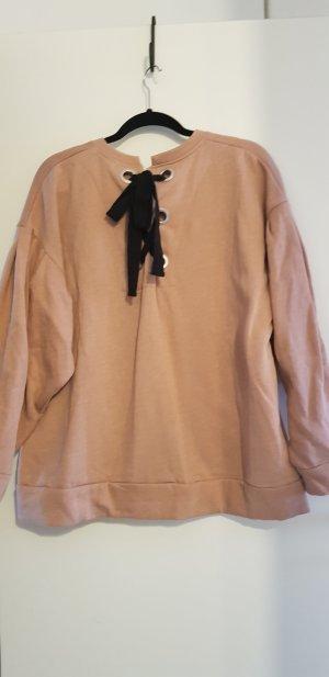 PULL & BEAR Sweatshirt Pullover Schleife L Rosa