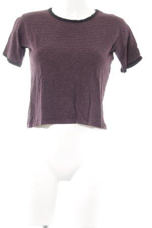 Pull & Bear T-Shirt bordeauxrot-grau Streifenmuster Casual-Look