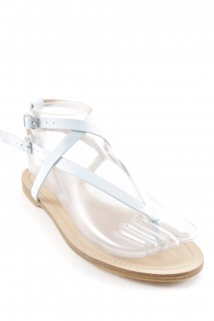 Pull & Bear Toe-Post sandals beige-light blue beach look