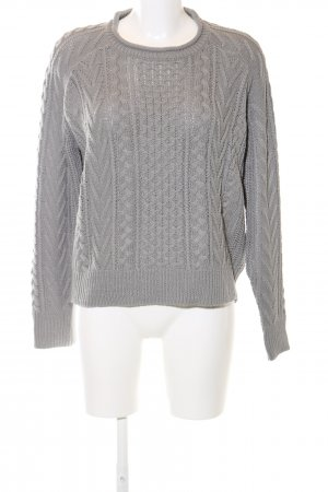 Pull & Bear Cable Sweater light grey cable stitch casual look