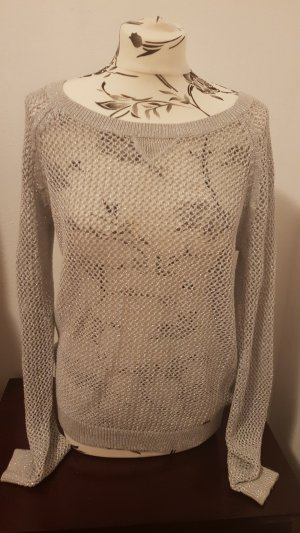 Hollister Crochet Sweater silver-colored-grey