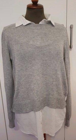 Pulli Bluse H&M S weiß grau