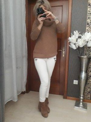 Vaquero pitillo marrón-crema