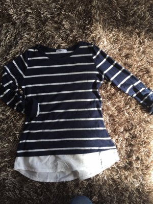 Hailys Short Sleeve Sweater blue-white