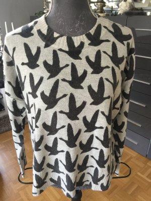Pulli H&M grau Vogelmotiv S