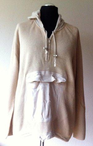 Jersey con capucha beige tejido mezclado