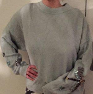 H&M Jersey de cuello redondo verde grisáceo-azul pálido
