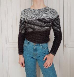 Pulli Pullover Flausch Flauschpulli Flauschpullover streifen sweater hoodie schwarz weiß grau