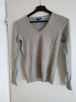 Tommy Hilfiger V-Neck Sweater light grey cotton