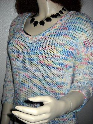 Pulli Pullover Grobstrick h m weiß bunt Rundhals 34 36 38 XS S M Oversized lang Gina pastell blau gelb