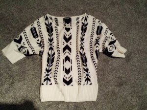 Pulli Pullover Oversize weiß Aztekenmuster schwarz M / L * supeer *