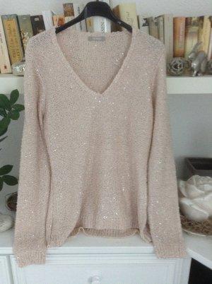 Jersey con cuello de pico rosa empolvado-crema